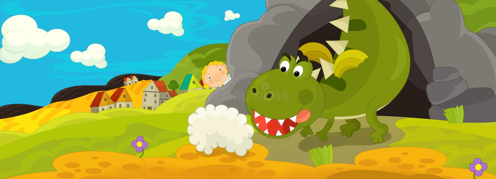 Cartoon image with green dragon being angry because of stomach pain royalty free illustration