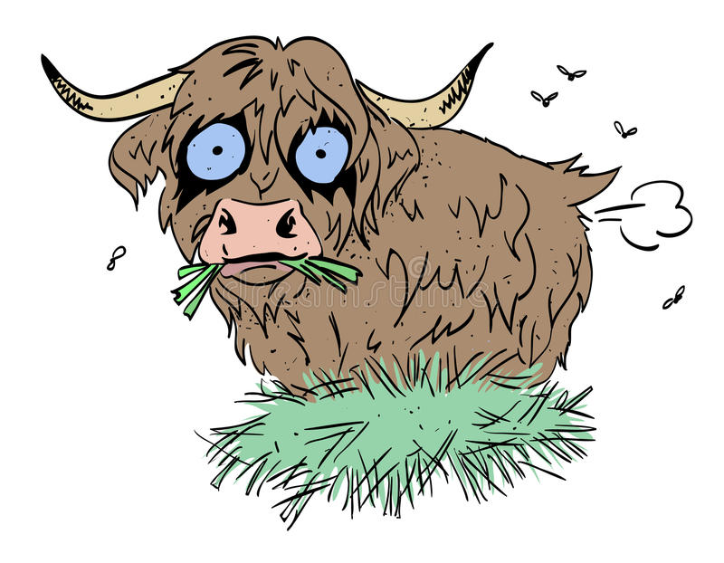 Cartoon image of hairy cow. Farting. An artistic freehand picture stock illustration