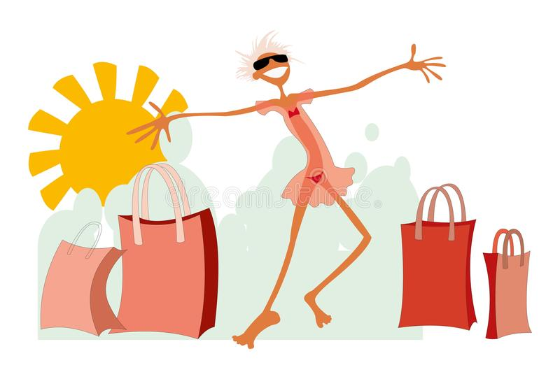 Happy woman. Cartoon image of happy smiling woman after shopping, isolated on white stock illustration