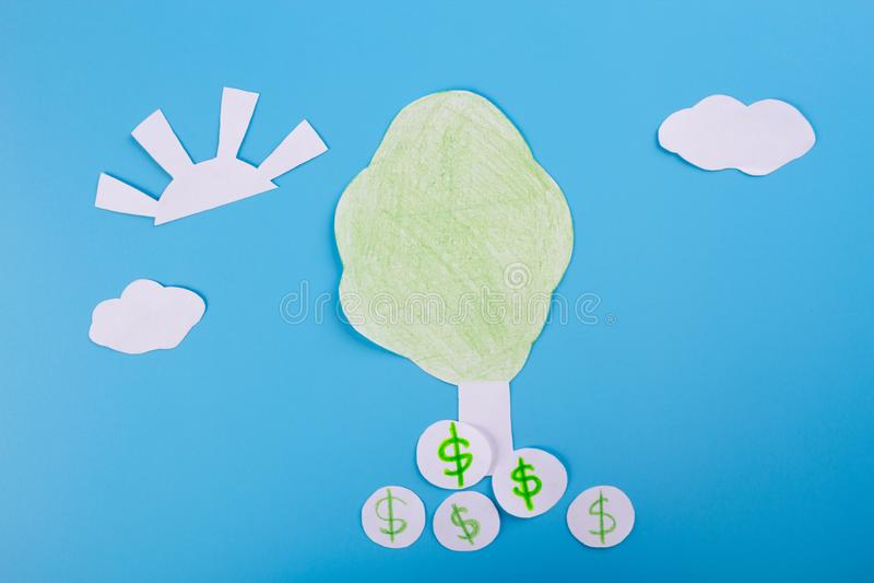 Cartoon image of money tree. Dollar royalty free stock photo