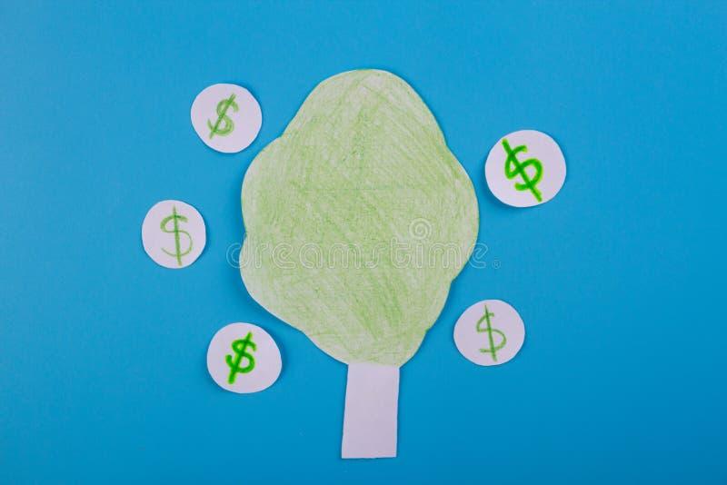 Cartoon image of money tree. Dollar royalty free stock image
