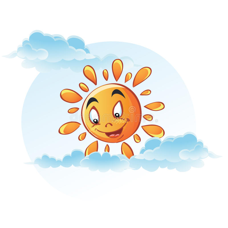 Cartoon image of sun in the clouds.  royalty free illustration