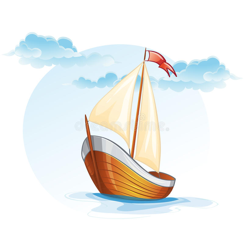 Cartoon image of a wooden sailing boat stock illustration