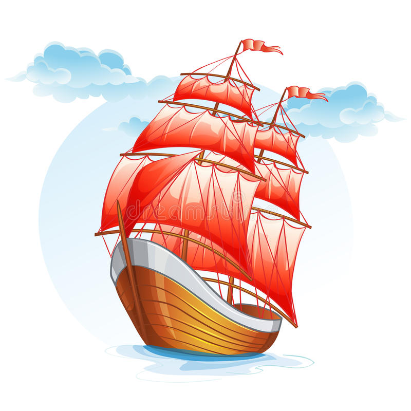 Cartoon images of a sailboat with red sails.  stock illustration