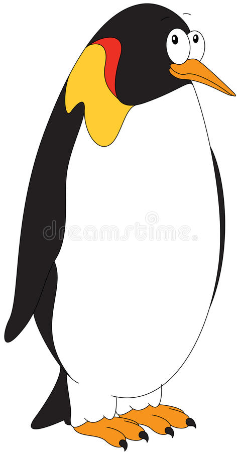 Cartoon Imperial penguin for babies and little kids. Picture on white background royalty free illustration