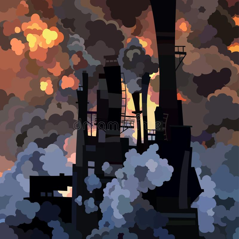 Cartoon industrial building with pipes in clouds of smoke royalty free illustration