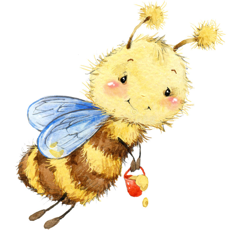 Cartoon insect bee watercolor illustration. vector illustration