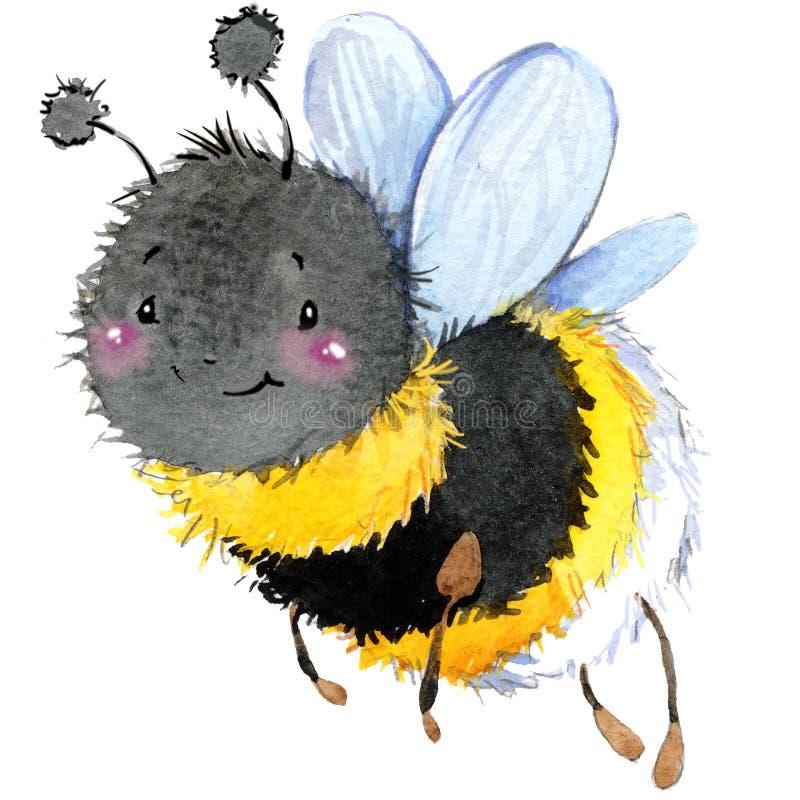 Cartoon insect bumblebee watercolor illustration. vector illustration