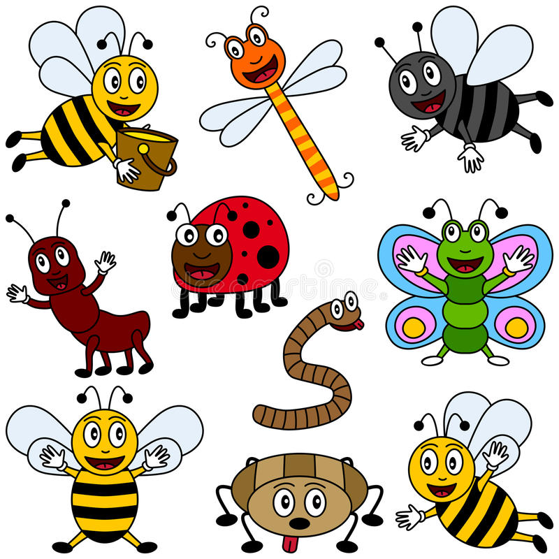 Cartoon Insects Collection. Collection of ten funny cartoon insects (three bees, a dragonfly, a bluebottle, an ant, a ladybug, a worm, a butterfly and a spider) vector illustration