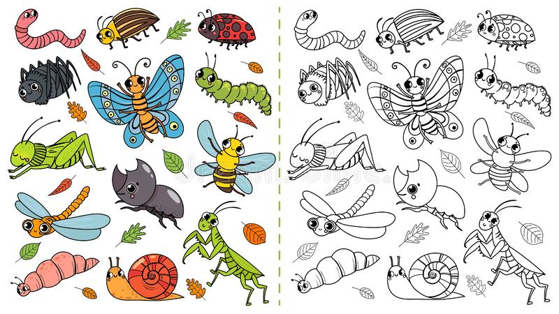 Cartoon insects color painting game. Draw cute insect with kids, funny bug, worm and caterpillar vector illustration. Cartoon insects color painting game. Draw royalty free illustration
