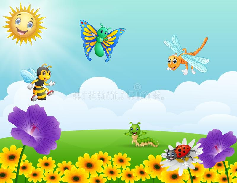 Cartoon insects in the garden vector illustration