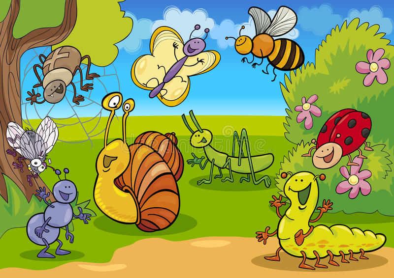 Cartoon insects on the meadow. Cartoon illustration of funny insects on the meadow vector illustration