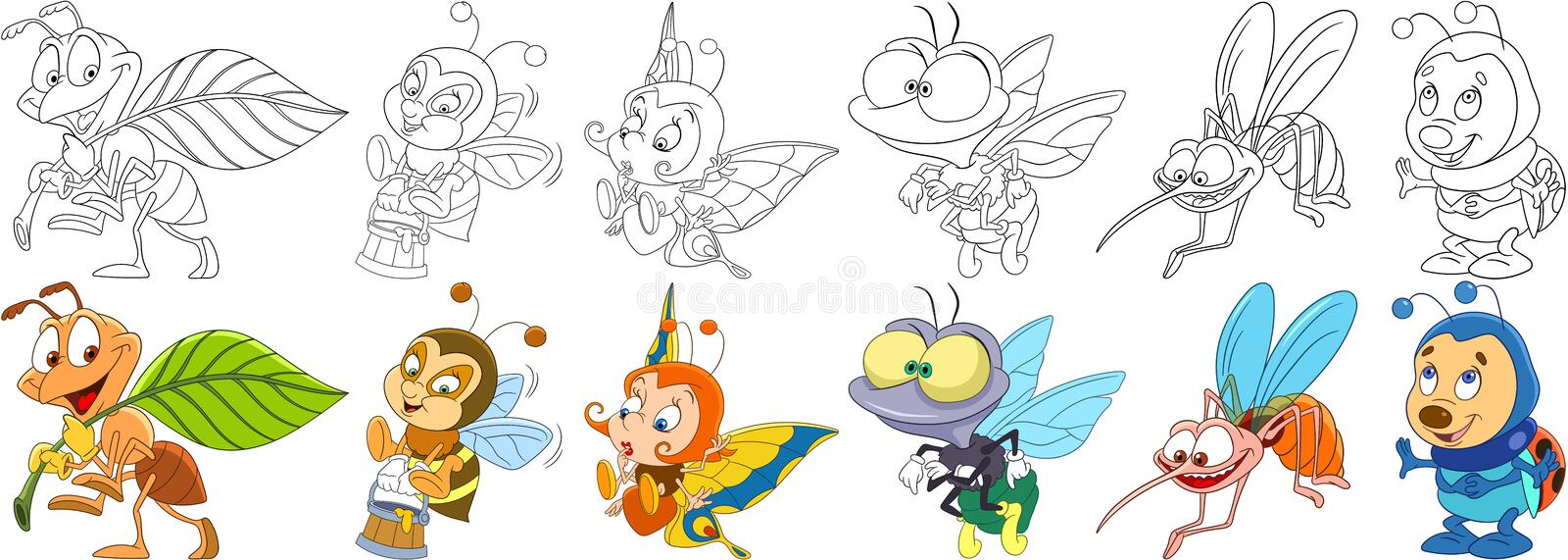 Cartoon insects set royalty free illustration