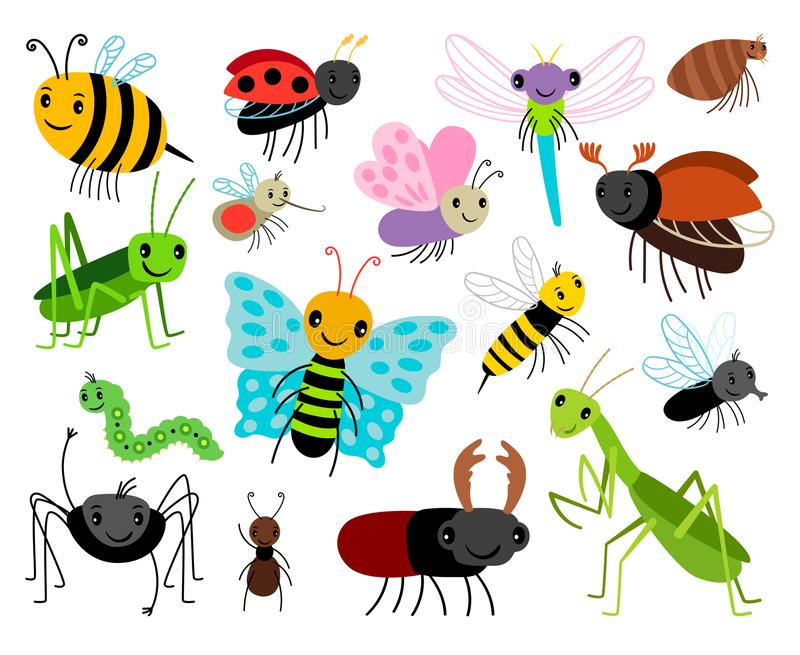 Cartoon insects. Vector cute insect collection, fly and ladybug, mantis and wasp, bug and beetle isolated on white royalty free illustration