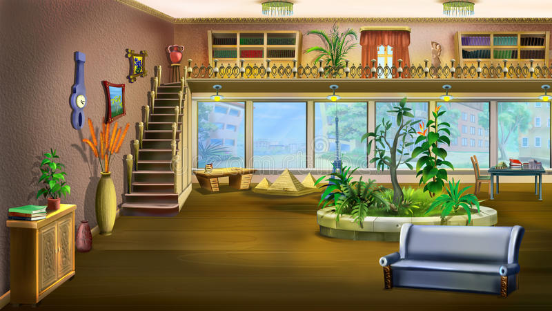 Cartoon Interior Design Of Vintage Living Room Background Stock