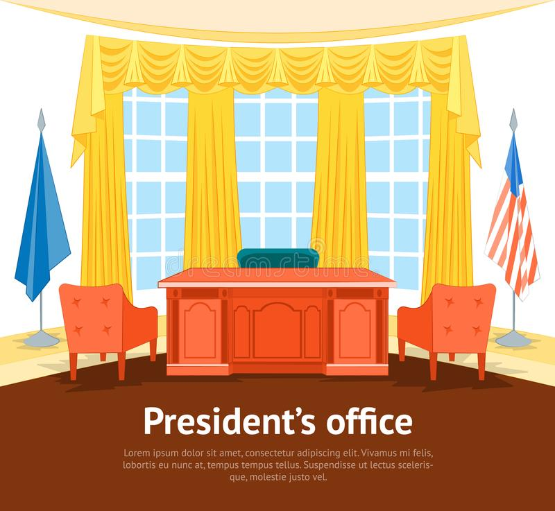 Cartoon Interior President Government Office Card Poster with Furniture. Vector. Cartoon Interior President Government Office or Cabinet Card Poster with royalty free illustration