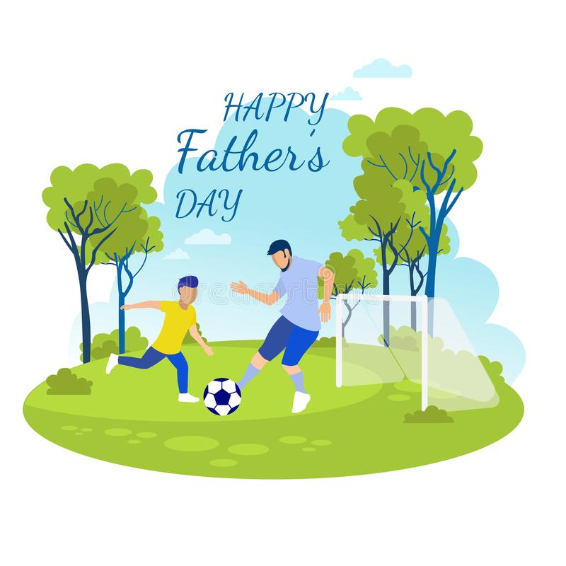Cartoon Invitation with Happy Fathers Day Text vector illustration