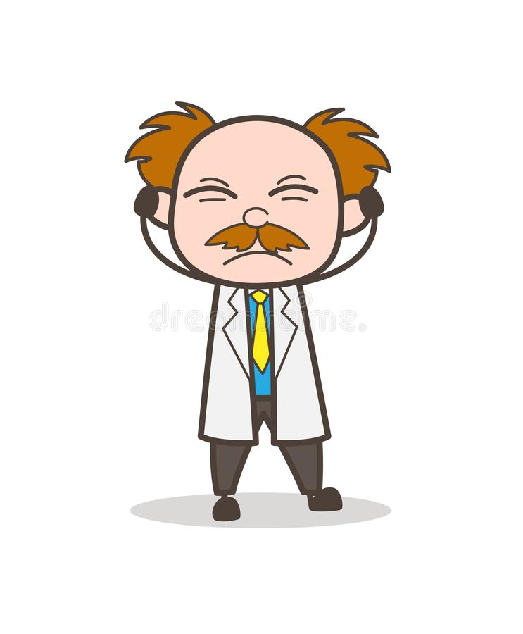 Free Cartoon Irritated Scientist Don`t Want To Hear Vector Concept Stock Photography - 103595742