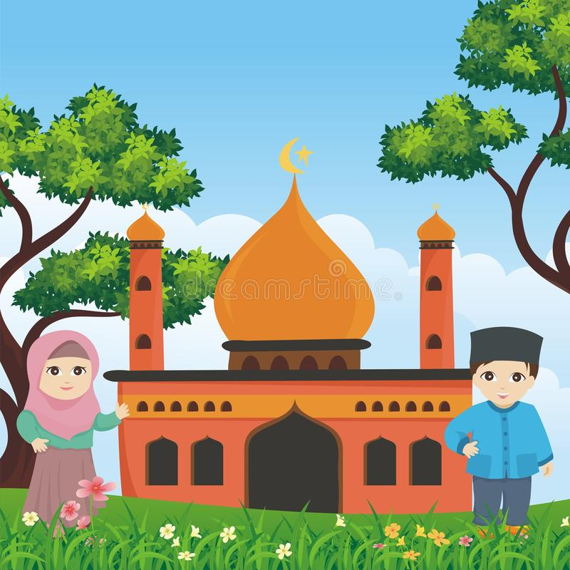 Cartoon islamic kid with mosque and landscape royalty free stock photos