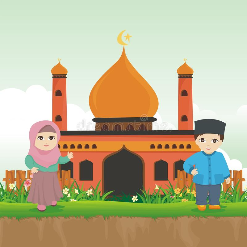 Cartoon islamic kid with mosque and landscape stock photo