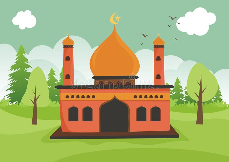 Cartoon islamic mosque with landscape royalty free stock image