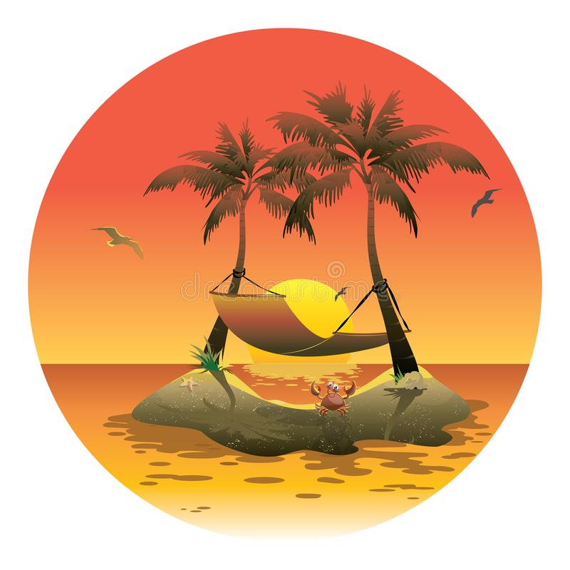 Cartoon island with a hammock at sunset. Illustration for a travel company. Summer vacation at the sea. Illustration of royalty free illustration