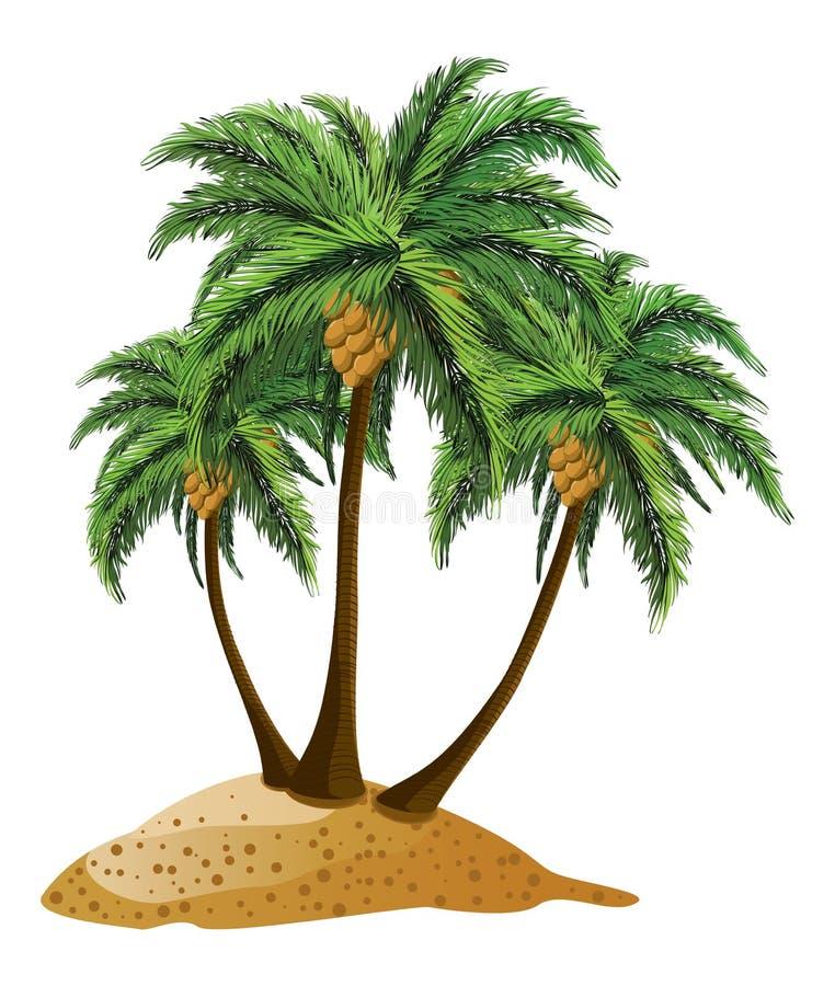 Cartoon island with palms stock vector. Illustration of ...