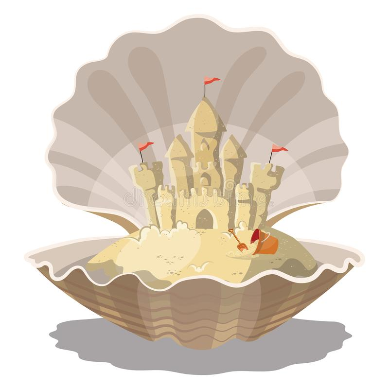 Cartoon island with a sand castle in the seashell. Illustration for a travel company. Summer vacation at the sea vector illustration