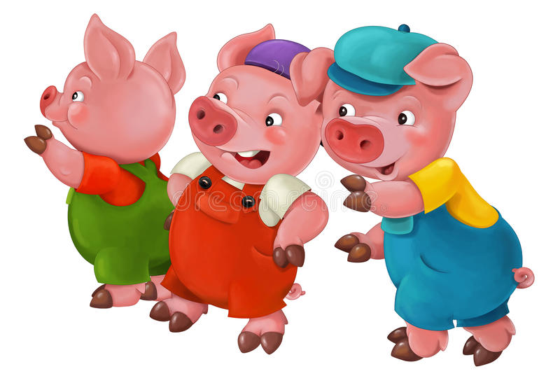 Cartoon isolated young pigs in work outfit - isolated vector illustration