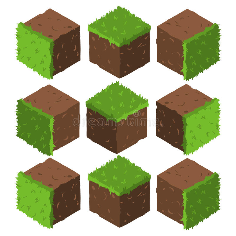 Cartoon Isometric grass and rock stone game brick cube. vector illustration