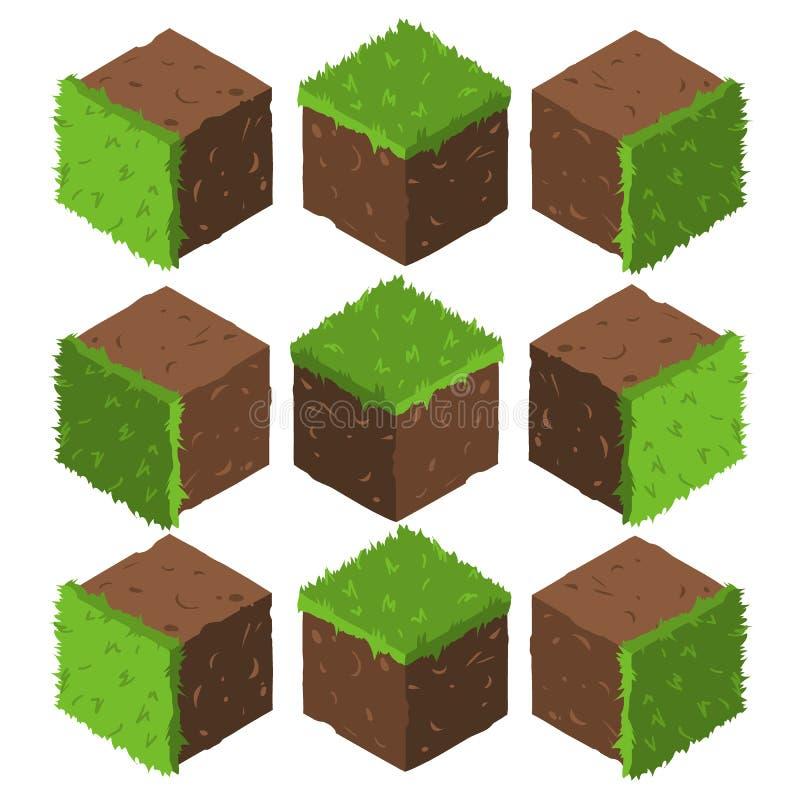 Cartoon Isometric grass and rock stone game brick cube. royalty free illustration