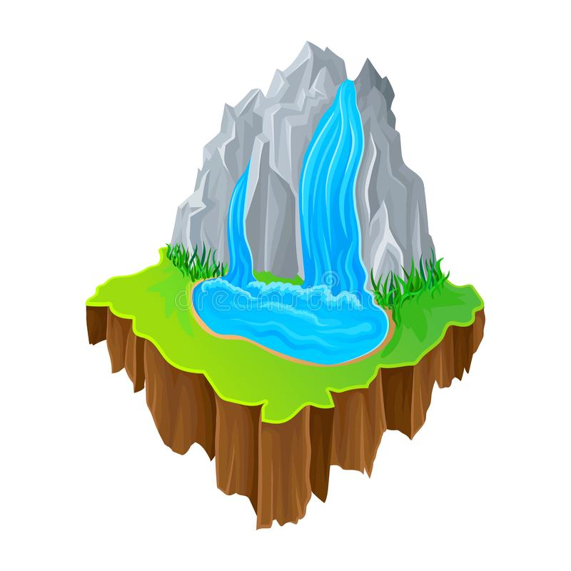 Isometric island with waterfall and green grass. Colorful nature landscape. Vector design for mobile game. Cartoon isometric island with waterfall and green stock illustration