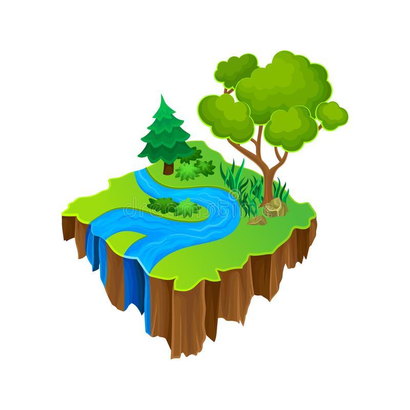 Isometric island with blue river, green grass and big forest trees. Vector element for computer or mobile game. Cartoon isometric platform island with blue river stock illustration
