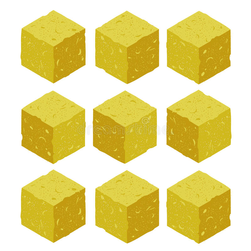Cartoon isometric sand rock stone game brick cube. stock illustration