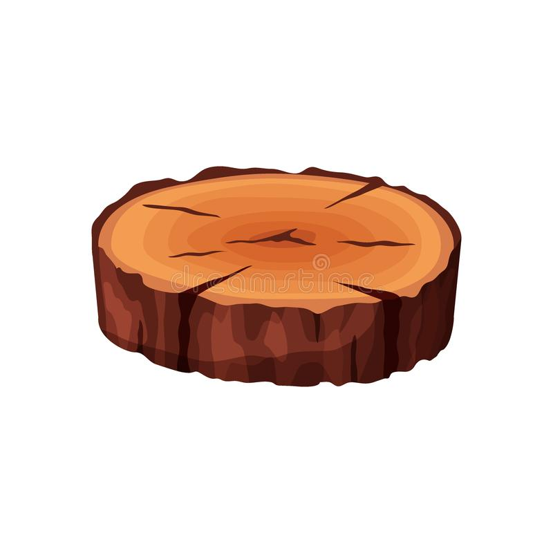 Cartoon isometric tree trunk slice isolated on white background. Wooden log cross section with splits and cracks vector. Illustration royalty free illustration