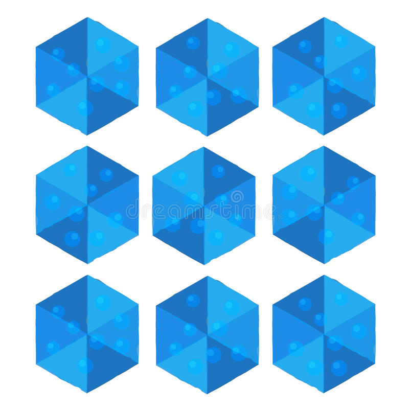Cartoon isometric water game brick cube. royalty free illustration