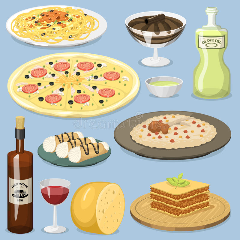 Cartoon Italy food cuisine homemade cooking fresh traditional Italian lunch vector illustration. vector illustration