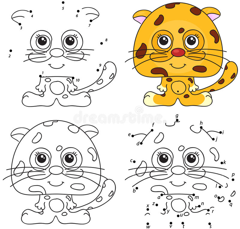 Download Cartoon Jaguar Coloring Book And Dot To Game For Kids Stock Vector