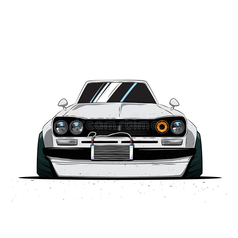 Cartoon japan tuned old car isolated. Front view. Vector illustration. Eps 10 stock illustration