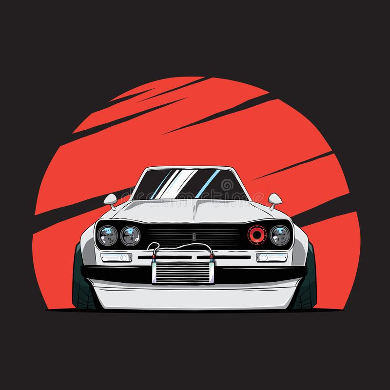 Cartoon japan tuned old car on red sun background. Front view. stock illustration
