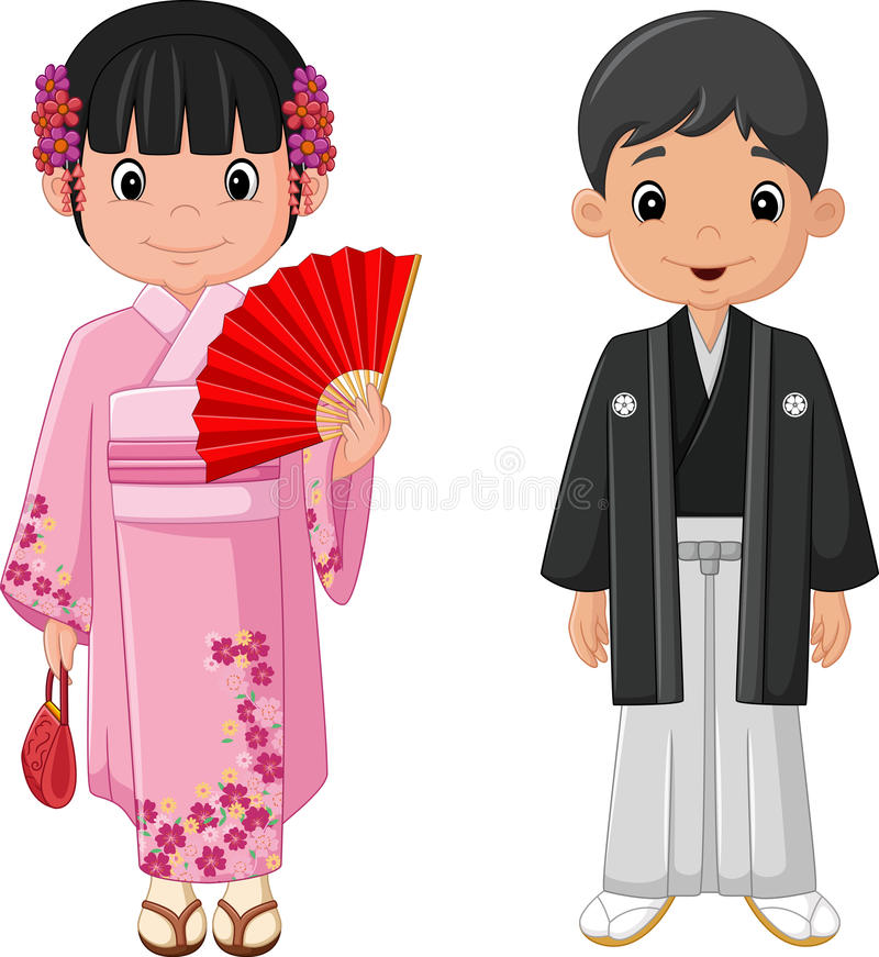 Cartoon Japanese couple wearing traditional costume stock illustration