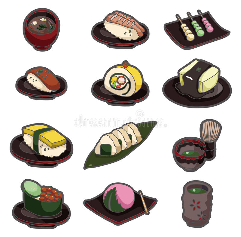 Cartoon Japanese food icon set stock illustration