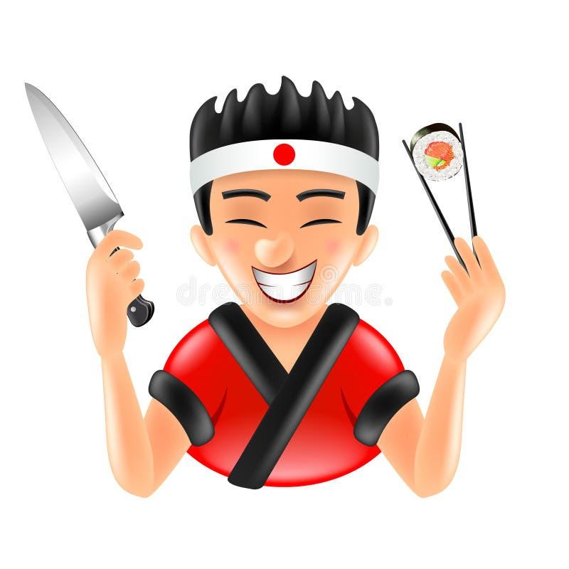 Cartoon japanese sushi chef isolated vector illustration. Cartoon japanese sushi chef isolated on white vector illustration vector illustration
