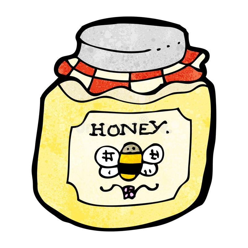 Cartoon jar of honey stock illustration. Illustration of ...