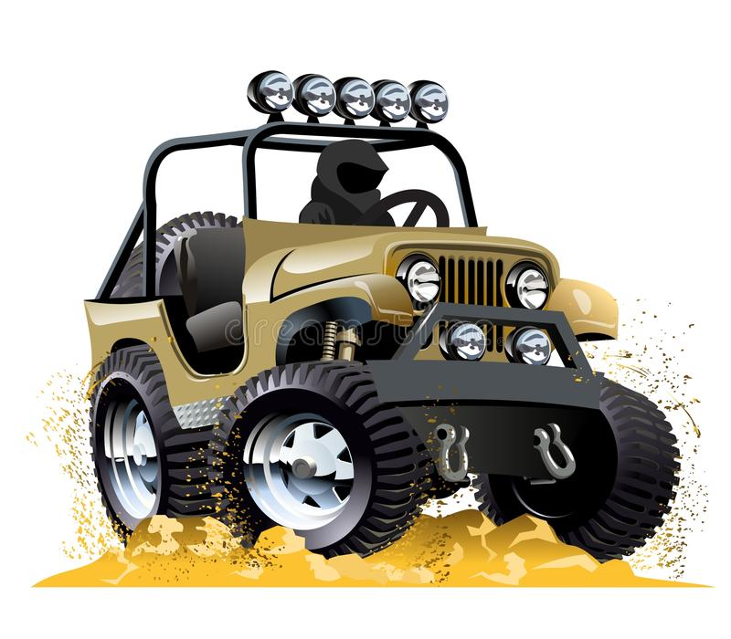 Cartoon jeep. Isolated on white background. Available EPS-10 vector format separated by groups and layers for easy edit