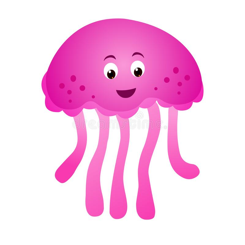 Cartoon Jelly fish Vector isolated on white background stock photo