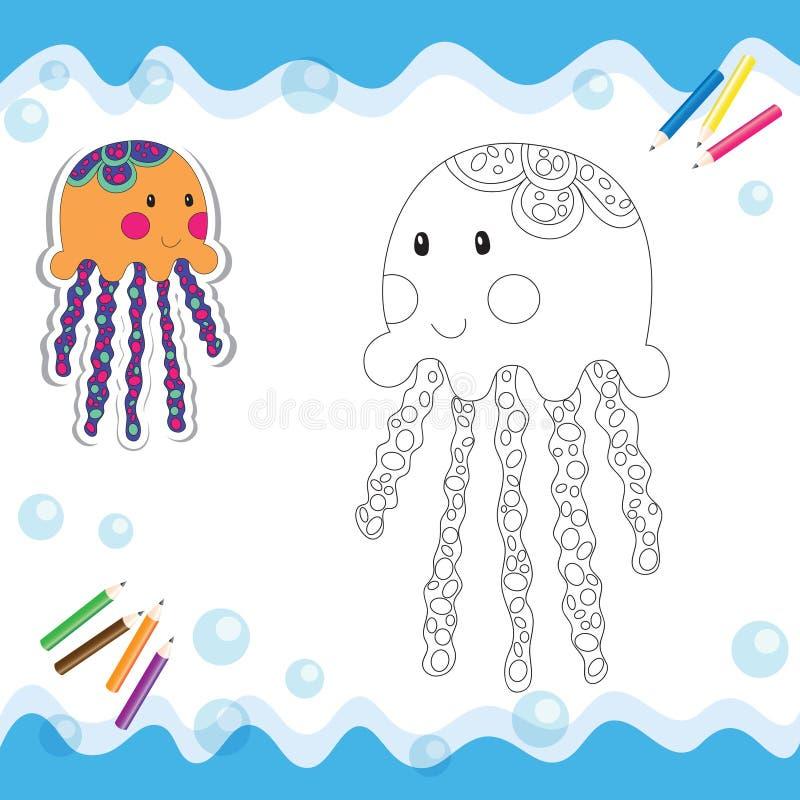 Cartoon jellyfish stock illustration