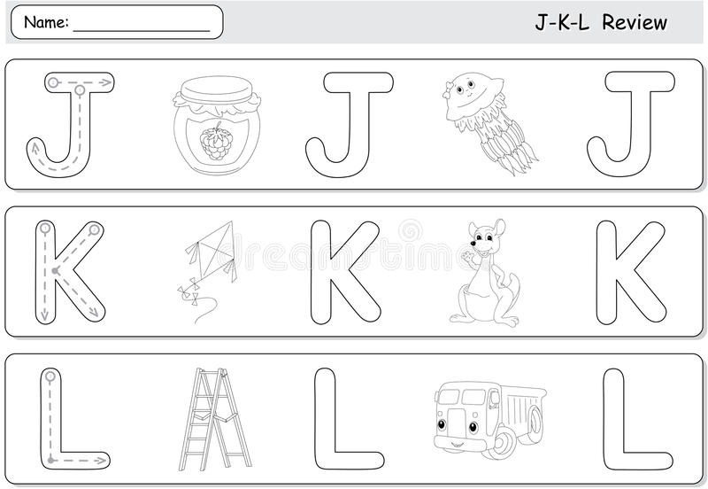 Cartoon jellyfish, jam, kite, kangaroo, lorry and ladder. Alphabet tracing worksheet. J-K-L Review royalty free illustration