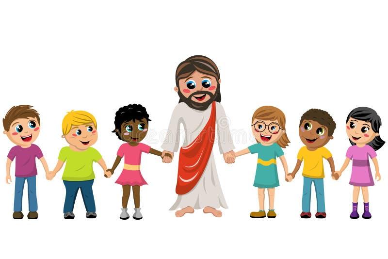 Cartoon Jesus hand in hand kids children. Cartoon Jesus hand in hand with kids or children vector illustration
