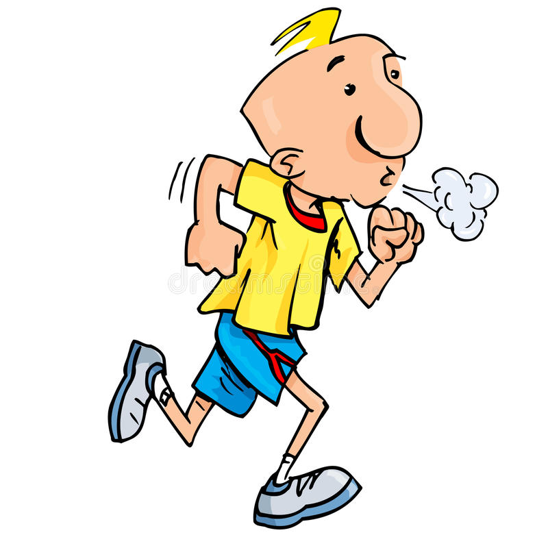 Cartoon of a jogging man puffing exertion. Isolated on white royalty free illustration